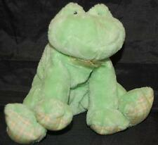 Baby Gund Little Frobbit Green FROG Plaid Feet Patches Plush Stuffed Toy 8""