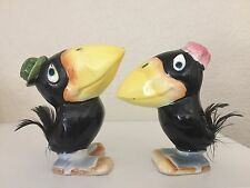 RARE Vintage Heckle & Jeckle Cartoon Crows w/Feather Tails Salt & Pepper Shakers
