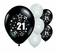 "8 X 21ST Cumpleaños Negro y Plata 12"" Helio o Airfill Balloons (PA)"