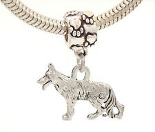 German Shepherd Charm on Pawprint Slider for Bracelet or Necklace