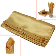 10Pcs Polyester Cloth Napkins Gold for Banquet Wedding Party Dinner 29.5x29.5cm