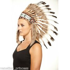 Brown Tip Feather Native American Indian Headdress Coachella SH009 USA SELLER