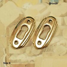 Lot of 2 Bronze Escutcheons Crystal or Display Cabinet Keyhole Escutcheon Size 9