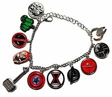 Marvel Comics  Superheroes 11 Themed Logo Charms Silvertone Metal Charm Bracelet