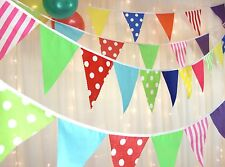Fabric Party Bunting - multi coloured circus spots & stripes 10 metres 38 flags