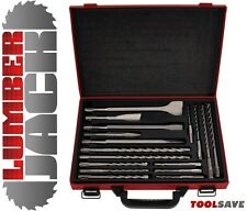 Lumberjack 17 pc Piece SDS Plus Masonry Drill & Hammer Chisel Set In Case - Bits