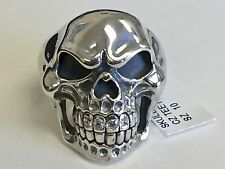LARGE RING  Solid Sterling Silver Biker Skull With Stones  -sz10  NWT$379