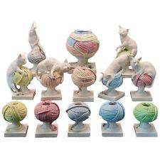 Rare Andrea Spadini Whimsical Art Pottery Cat and Balls of Yarn Vase Sculptures