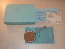 TIFFANY AND CO. STERLING MESH FRAMED SMALL MIRROR WITH BOX PAPERWORK 5 1/2""