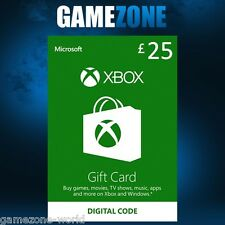 Microsoft Xbox Live £25 Gift Card Points Pounds For Xbox 360 / Xbox One