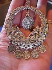 Rare St BENEDICT Custom Religious Catholic Saint Medal Charm NECKLACE Lot