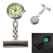 Sliver Stainless Steel Medical Doctor Brooch Fob Quartz Cross Nurse Pocket Watch