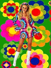 456✪ groovy Regenbogen Batik Blumenkinder Hippie Trompetenärmel Kleid Kostüm GrM