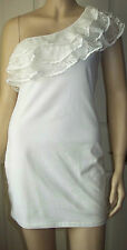 LILA Cream Lace Layered One Shoulder Stretch Body con Party Dress Size 12  32
