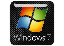 """Windows 7"" Dark 1""x1"" Chrome Domed Case Badge / Sticker Logo"