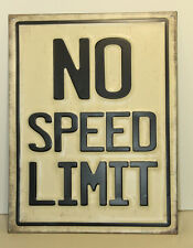 No Speed Limit Embossed Vintage Look Metal Signs DECOR Route 66 Man Cave Garage