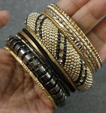 BOHO Resin Crystal Steel Aluminum Brass Beaded Black Gold 13 Bangle Bracelet Set