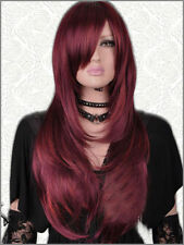 ZWSW17 long straight wine red color health Hair Wigs for modern women wig