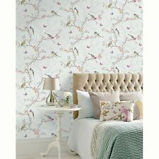 PHOEBE BIRDS WALLPAPER SOFT TEAL by HOLDEN DECOR - 98083 - NEW