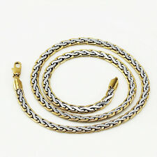Mens Jewellery 18 k Gold Plated Two Colours Necklace for Men Chain 6 mm N292