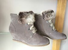 NEW CLARKS Lumiere Spin Taupe Brown Suede High Wedge Heel Ankle Fur Boots 7.5 D