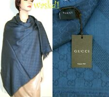 "GUCCI wool/silk Navy Blue Monogram Giant 55""-sq scarf PASHMINA shawl NWT Authent"