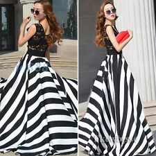 Women Lace Striped Waisted Evening Party Prom Gown Long Skirt Summer Maxi Dress