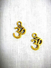 NEW MEDITATION OM / OHM / AUM GOLD PLATED CHARMS DANGLING PAIR OF EARRINGS