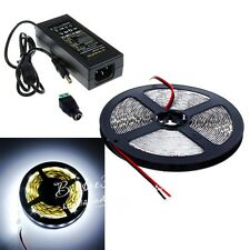5M 5050 SMD Cool White 300 LED Flexible Strip Light+DC Connector+5A Power Supply