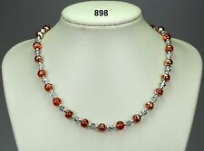 """Orange & silver glass drawbench 8mm bead necklace, silver/clear crystals 20""""+2"""