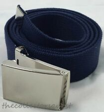 "NEW 1.5"" WIDE 56"" inch NAVY BLUE CHROME FLIP TOP BUCKLE CANVAS MILITARY WEB BELT"