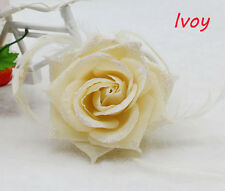 1PCS Ivory Feather Rose Corsage Wrist Flower Romantic Bridal Headpieces brooch