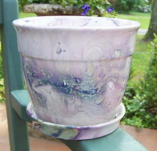 "7 1/2"" WIDE CERAMIC MARBLE GLAZED PURPLE PATTERN PLANTER WITH SAUCER"