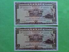 The Hong Kong & Shanghai Banking Corp.1975 $5 Banknote 2pcs RN 065055 - 6 FD