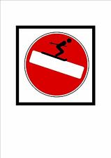 Novelty Funny Street Sign Comic Road Sign Skiing Fun Sign Novelty Wall Plaque