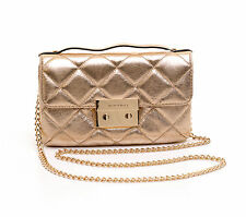 Michael Kors SM Quilted Messenger Pale Gold Sloan Leder Hand Damen Tasche Bag