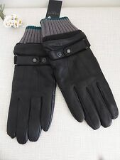 BNWT TED BAKER Black Deerskin & Sheepskin  Leather Gloves  size M/L
