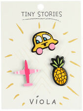 DESIGNER INSPIRED 3 PC AIRPLANE GIRL CAR PINEAPPLE TINY STORIES PIN SET