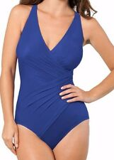 NWT New MIRACLESUIT Oceanus Tank Underwire One Piece Swimsuit Marine Blue 14 DD