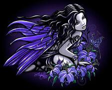Blue Fairy Lily Flower Tattoo Signed Gothic Faerie Fantasy Myka Jelina Art Print