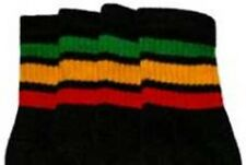 """22"""" KNEE HIGH BLACK tube socks with GREEN/GOLD/RED stripes style 1 (22-36)"""
