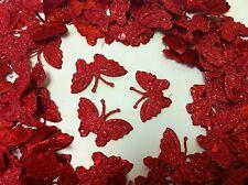 100 Rojo Brillante Tejido Con Puntos Mariposas 4 Tarjeta, Scrapbooking & Boda