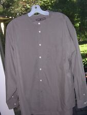 #151  MENS HISTORICAL VICTORIAN DICKENS POETIC BAND COLLAR TAN SHIRT L