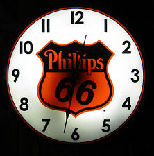 """Phillips 66 Gasoline Gas Vintage Advertising NEW Wall Clock 14"""" Light Sign"""
