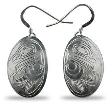 Eagle Silver Oval Earrings Native Pacific Northwest Coast Salish First Nation