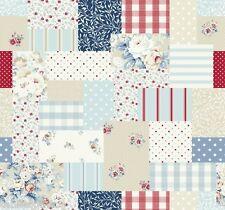 """1.3m/51"""" SQUARE patchwork blue pvc wipe clean dining oilcloth TABLE CLOTH CO"""