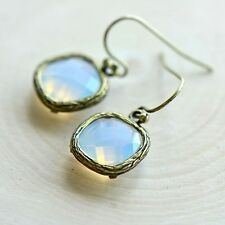 White Opal Square Jewel Earrings - Antique Bronze Frame - Opaque Glass