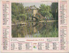 CALENDRIER ALMANACH des postes PTT 1985 HORTILLONNAGES & VILLEFRANCHE