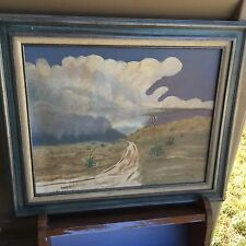 vintage oil painting,signed Eva L. O'Rear,Arizona Open Desert,Stormy Sky,16 x 20