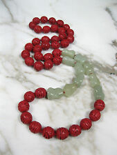 "VTG 37"" LONG CHINESE CARVED RED CINNABAR CELADON GREEN JADE BONE BEAD NECKLACE"